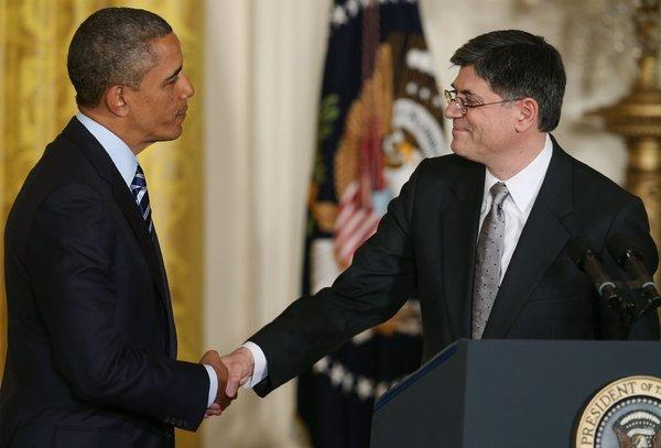 President Obama nominates Jacob Lew as Treasury secretary at the White House on Thursday.