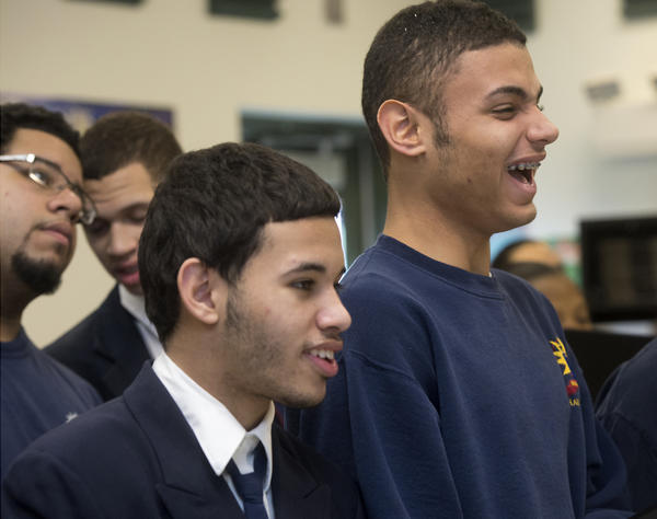 Tyrone Arzeno, 16, of Allentown (foreground from left) and Felix Martinez, 16, rehearse with the Roberto Clemente Charter School Choir Thursday in advance of their upcoming performance during the inauguration festivities for President Barack Obama. The ensemble will perform performing January 19th at the National City Church in Washington, D.C.