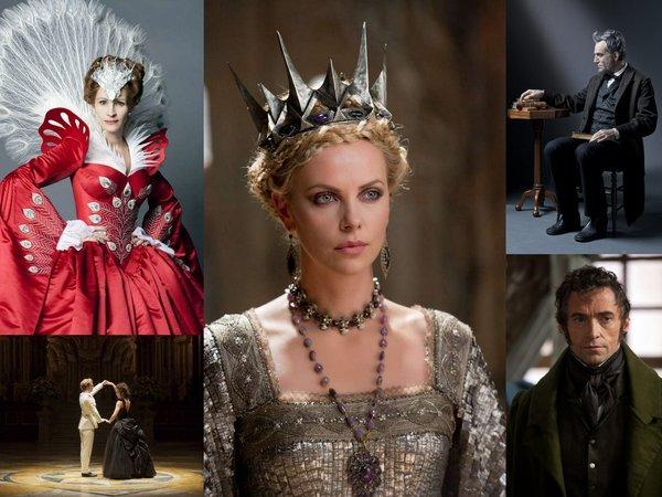 "Films whose costume designers received nominations for the 85th Academy Awards include (clockwise from lower left) ""Anna Karenina,"" ""Mirror Mirror,"" ""Snow White and the Huntsman,"" ""Lincoln"" and ""Les Miserables."""