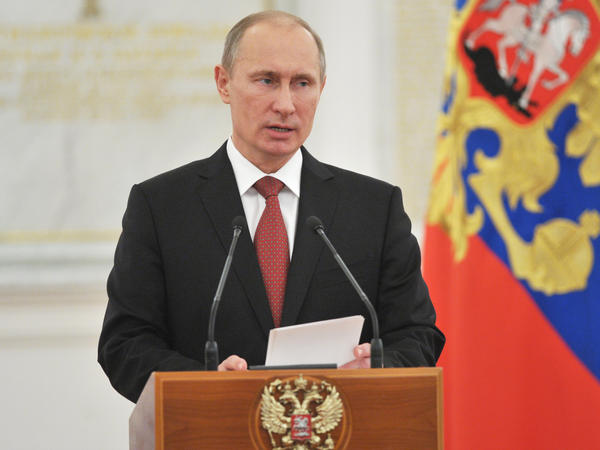 Russian President Vladimir Putin speaks at the Kremlin in Moscow on December 28, 2012.