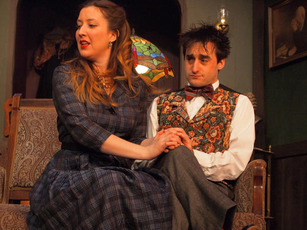 "Mollie Ralston (Ann Turiano, left) and Christopher Wren (Brian Kehoe) in the Vagabond Players' production of ""The Mousetrap."""