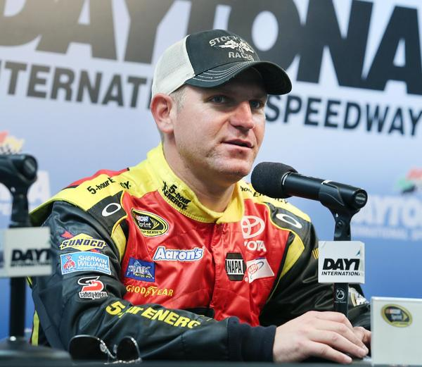 Clint Bowyer speaks during a press conference during NASCAR Sprint Cup Series Preseason Thunder at Daytona International Speedway in Daytona Beach, FL, on Thursday, January 10, 2013.