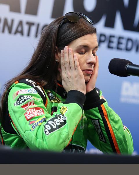 Danica Patrick listens to a question during a press conference during NASCAR Sprint Cup Series Preseason Thunder at Daytona International Speedway in Daytona Beach, FL, on Thursday, January 10, 2013.
