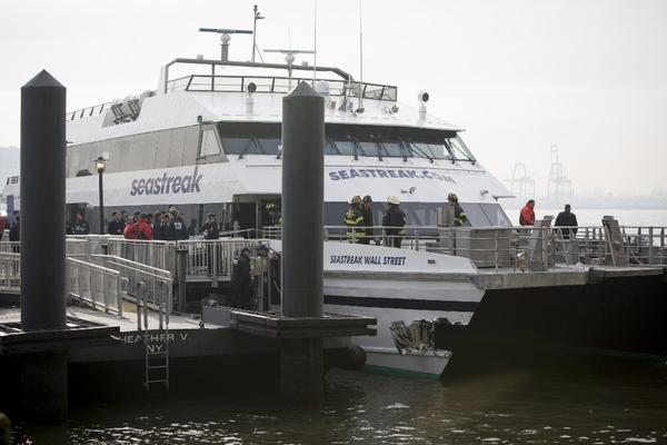 The Seastreak Wall Street commuter ferry after it collided into a pier in New York City.