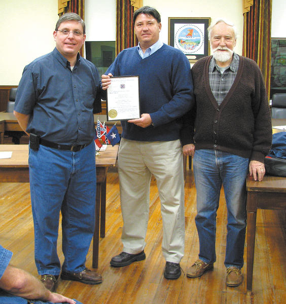 The Battle of Sharpsburg Camp 1582, Sons of Confederate Veterans, swore in its newest member, Roger Lee Boothe Jr., at its Jan. 2 meeting at Sharpsburg Town Hall. Boothe was sworn in upon verification of his ancestor, Pvt. Charles W. Boothe, Co. C, 29th Virginia Infantry, who served in the Confederate Army. From left, Camp Cmdr. Michael Wasiljov, Boothe and Camp Chaplain Toby Law. Membership in the Sons of Confederate Veterans is open to all male descendants who can prove their ancestry to a Confederate veteran who served honorably during the Civil War. For more information, call Wasiljov at 301-992-3122 or send an email to mike24745@aol.com.