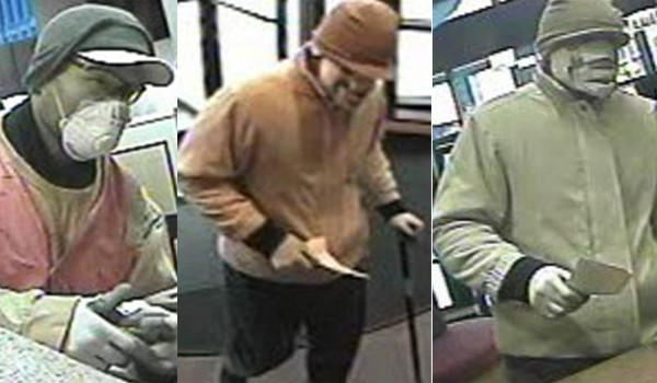 A man who robbed a bank at 557 S. State St. Nov. 29 (left) is suspected of robbing the bank again today (right two photographs).
