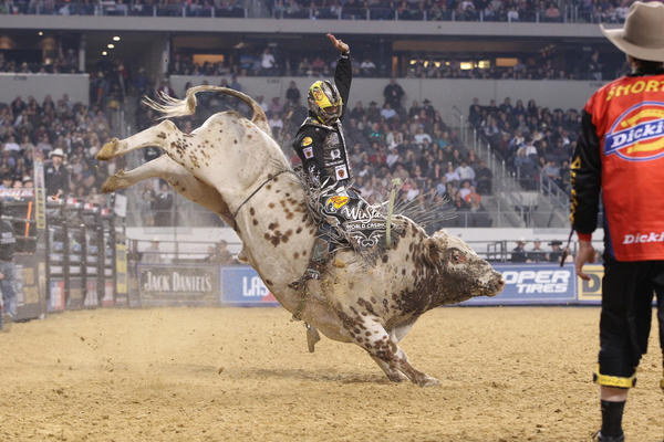 Luke Snyder rides Shamoun during a Professional Bull Riders' Tour event.