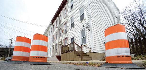 A conjoined cluster of six properties on East Franklin Street have been condemned by the City of Hagerstown.