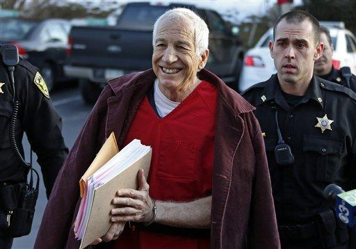 Former Penn State University assistant football coach Jerry Sandusky arrives at Centre County Courthouse in Bellefonte, Pa. His lawyers are seeking a new trial.