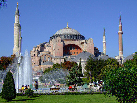 The Hagia Sophia museum in Istanbul, Turkey, was once a church, then a mosque.