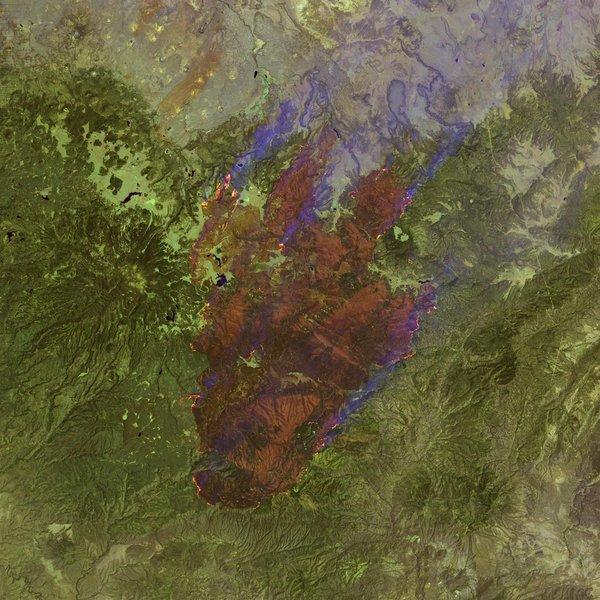 This Landsat satellite image shows the outline of the Wallow fire in Arizona in June 2011. NASA is preparing to launch the eighth satellite in the Landsat program on Feb. 11.