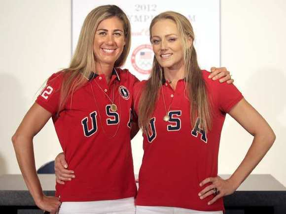 Olympic beach volleyball silver medalists April Ross, left, and Jennifer Kessy are scheduled to appear at the Ritual JuiceBox on Sunday.