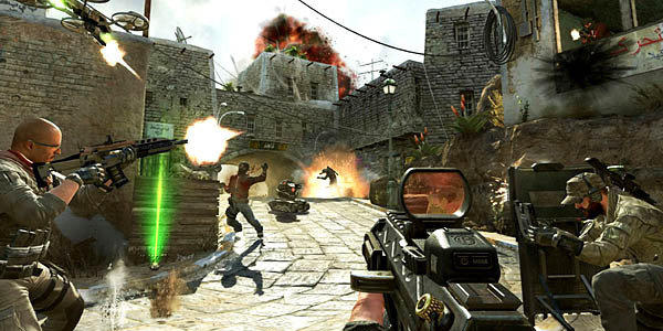 "Soldiers and terrorists battle in the streets of Yemen in a scene from ""Call of Duty: Black Ops II."""
