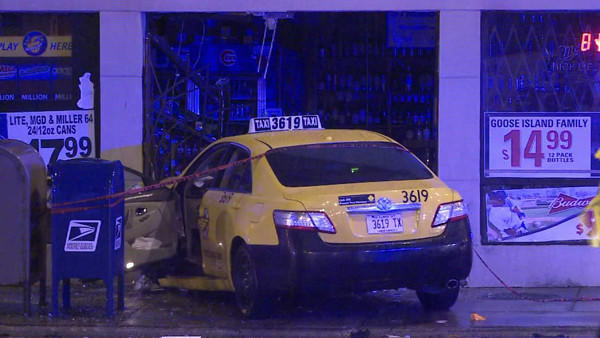 This cab hit a 20-year-old woman after being hit by another cab early on Jan. 11, 2013.