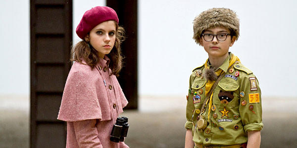 "Kara Hayward as Suzy and Jared Gilman as Sam in Wes Anderson's ""Moonrise Kingdom."""