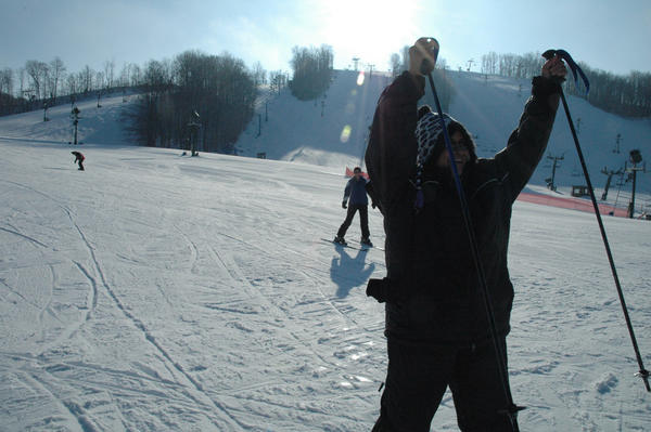 Sister Esther Rodriguez happily completes a run at Nub's Nob Ski Area in Harbor Springs.