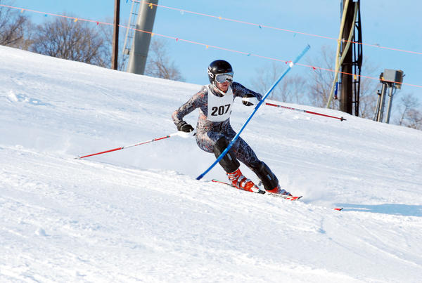 Harbor Springs senior Forrest Lundgren won both the slalom and giant slalom Thursday to lead the Rams to a Lake Michigan Conference meet win at Nub's Nob.