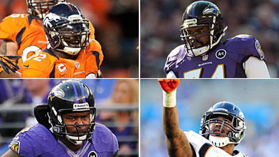 Miller and Dumervil are the best rushing tandem in the NFL. Miller is exceptionally fast and quick while Dumervil uses leverage and power. McKinnie and Oher have struggled with speed rushers in the past, and they will have problems again today. It will be interesting to see how many times Oher jumps offside, especially playing on the road. Edge: Broncos