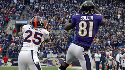 In the first game between these teams, Harris, a second-year pro, shut Boldin out. Boldin had a great game Sunday, and he'll be tough for Harris to handle. Ravens QB Joe Flacco has to be accurate because Harris has three interceptions. He also has 61 tackles, including 2.5 sacks.  Edge: Ravens