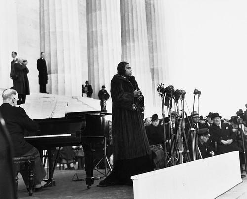 In this photo from April 9, 1939, Contralto singer Marian Anderson performs on the steps of Washington's Lincoln Memorial on Easter Sunday after she had been refused permission to perform in Washington's Constitution Hall by the hall's owners, the Daughters of the American Revolution. The concert focused attention on Anderson and subsequent cases of racial discrimination.