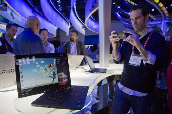 A Lenovo convertible Ultrabook at the Consumer Electronics Show.