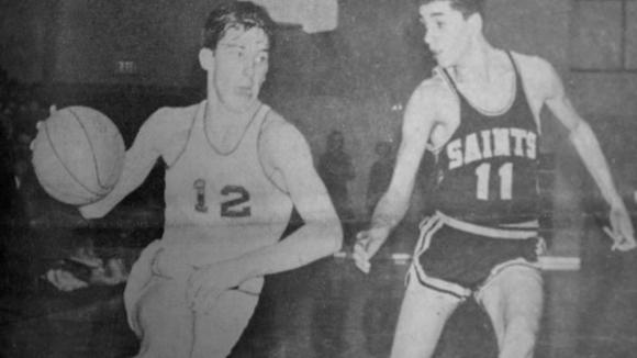 Greater Otsego County Area Sports Hall of Fame inductee Tom Johnson goes hard to the basket in a 1968 game against St. Ignace.