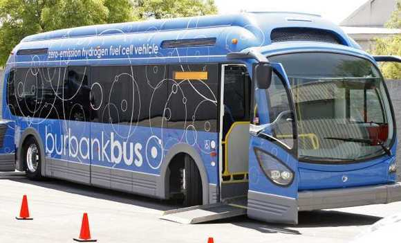 A hydrogen-powered bus is at a Event and Ride & Drive held at the Bob Hope Airport on Thursday, June 7m 2012.