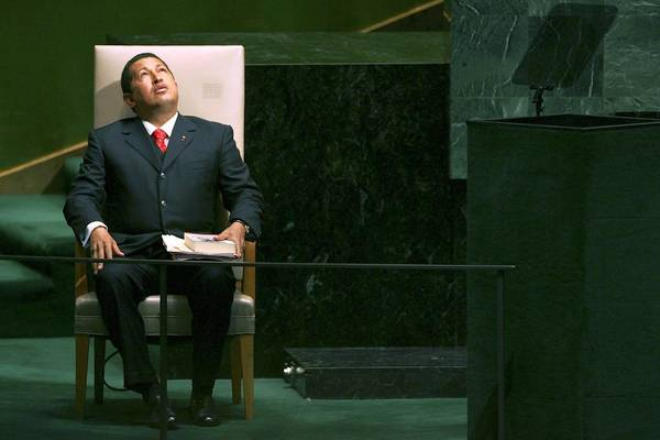 Venezuelan President Hugo Chavez moments before addressing the United Nations General Assembly on September 20, 2006 at the UN in New York City.