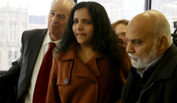Meraj Khan, the sister of Urooj Khan, leaves court today after Judge Susan Coleman gave a quick OK to exhume her brother's body at Rosehill Cemetery on Chicago's North Side.