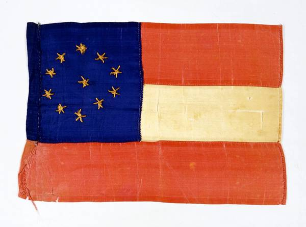 Thirteen-year-old Mary Palmer of Portsmouth made this small 11-star version of the first Confederate National Flag a few weeks after Virginia seceded in April 1861 and after North Carolina, Arkansas and Tennessee had joined the Confederacy.