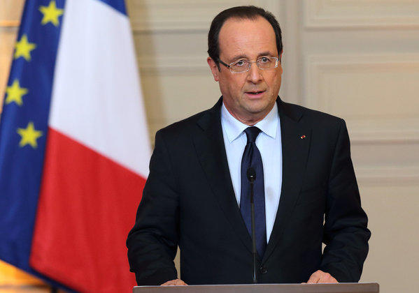 France's President Francois Hollande delivers a statement on the situation in Mali at the Elysee Palace in Paris on Friday.