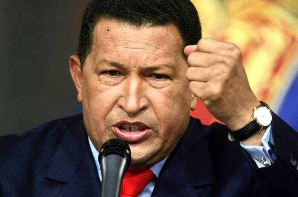Venezuelan President Hugo Chavez speaks at a press conference in Miraflores Palace on December 5, 2006 in Caracas, Venezuela. Chavez was officially declared the re-elected president after defeating challenger Manuel Rosales in the 2006 election.