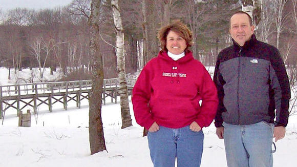 Judy Mason and Jim Olli enjoy the snow at  Michaywé.