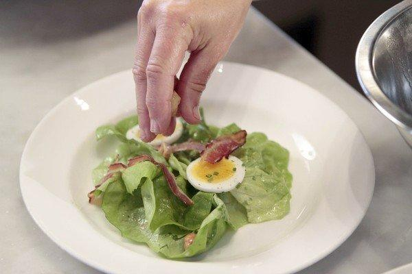 Master chef Nancy Silverton creates a salad named Butter Lettuce With Hazlenuts, Bacon, Gorgonzola Dolce, Egg and Sherry Vinaigrette at Mozza restaurant on Melrose Avenue in L.A.