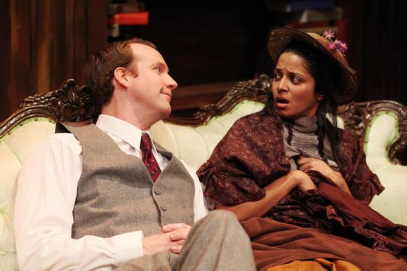 "Mouzam Makkar is Eliza and Steve O'Connell is Henry Higgins in ""Pygmalion."""