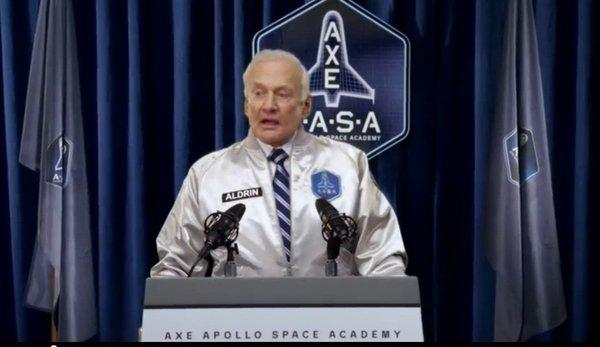 Buzz Aldrin pitches Axe's new Apollo line of products -- and its promise to send some lucky winners into space.