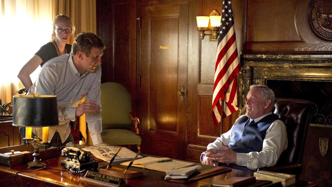 """Ruben Fleischer directing Nick Nolte in """"Gangster Squad."""" (Warner Bros.)"""
