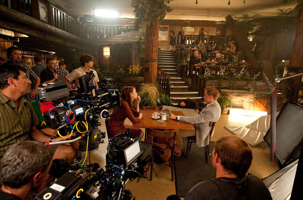 "Clifton's Cafeteria in downtown L.A. offers Emma Stone and Ryan Gosling a retro setting in ""Gangster Squad."""
