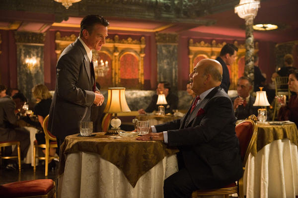 "Sean Penn and Jon Polito film a scene at the Tower, a downtown movie palace turned into Club Figaro for ""Gangster Squad."""