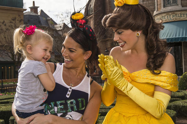 "Melissa Rycroft, who won the all-star edition of ""Dancing with the Stars"" and was a contestant on ""The Bachelor,"" and daughter Ava meet Princess Belle from Disney's ""Beauty and the Beast"" at the France pavilion in Epcot on Jan. 11, 2013."