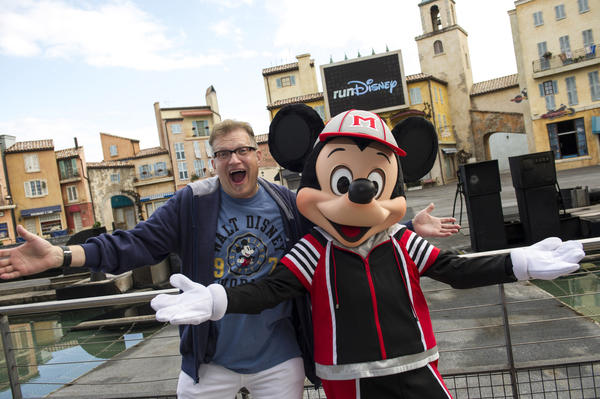 "Drew Carey, actor and host of ""The Price is Right,"" hangs with with Mickey Mouse at a Jan. 11 kickoff celebration for the 2013 Walt Disney World Marathon Weekend."