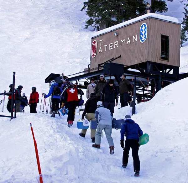 Mt. Waterman hasn't received enough snow yet to open for the season. Above, skiers and snowboarders arrive in 2011.