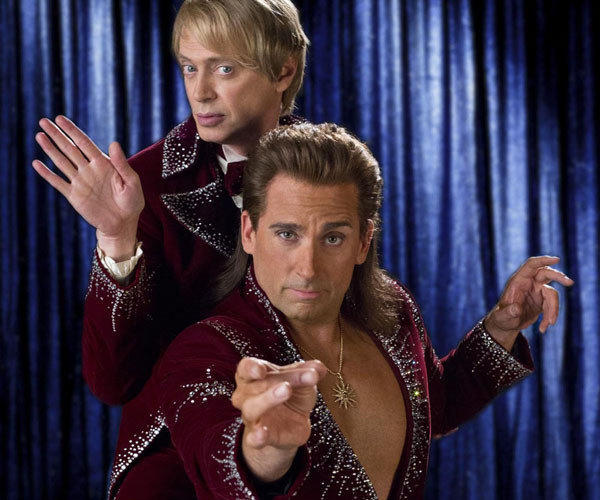 "Steve Buscemi as Anton and Steve Carrel as Burt in ""The Incredible Burt Wonderstone."""