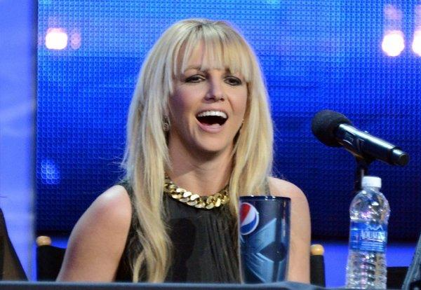 "Britney Spears attends the ""The X Factor"" season finale news conference in Los Angeles."