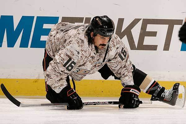 George Parros of the Anaheim Ducks warms up prior to a game against the Pittsburgh Penguins on November 3, 2009. (Getty Images)