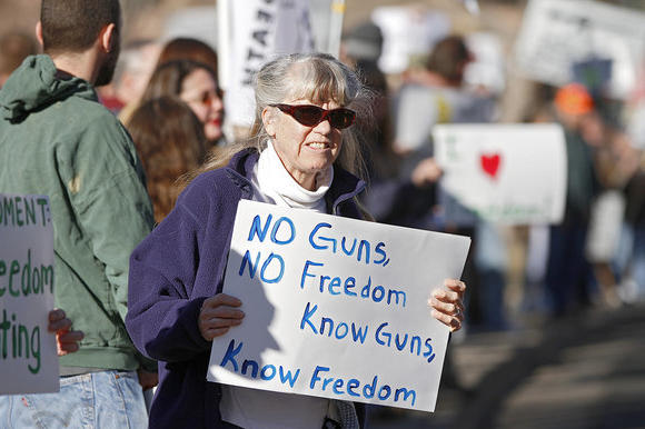 Gun-rights enthusiasts protest in Colorado.