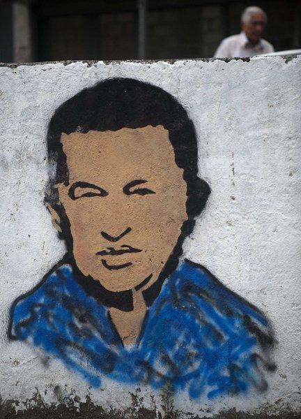 A mural of Venezuelan President Hugo Chavez in Caracas.