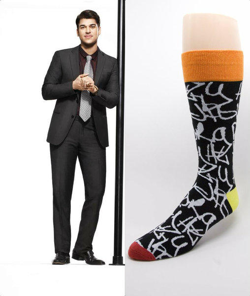 "Rob Kardashian (shown in a ""Keeping Up With the Kardashians"" 2012 promotional photo) and a design from his recently launched Arthur George men's sock line (Graffiti, $30)."