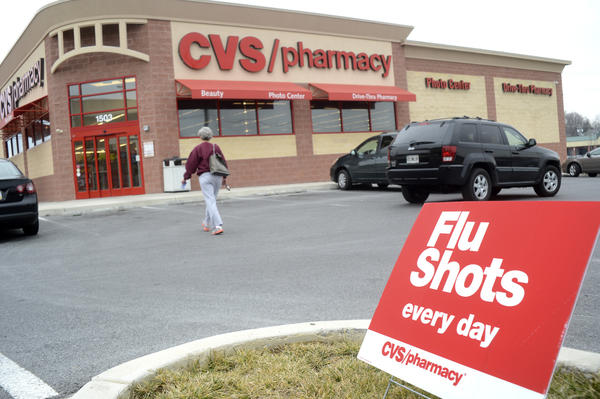 Flu shots are available at CVS everyday according to a sign posted outside the CVS Pharmacy on Potomac Avenue in Hagerstown.