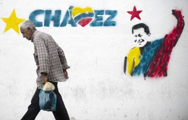 A mural on a wall in Caracas, Venezuela, professes support for ailing President Hugo Chavez.
